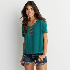 AEO Soft & Sexy Sky High V-Neck T-Shirt ($15) ❤ liked on Polyvore featuring tops, t-shirts, green, green t shirt, green top, vneck t shirts, boxy tee and sexy tee