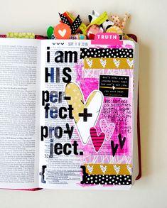 hybrid mixed media art journaling Bible entry by Elaine Davis