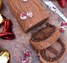 CHOCOLATE YULE LOG WITH ROLLED OATS