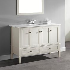 WYNDENHALL Windham Soft White 48-inch 2-door 2-drawer Bath Vanity with White Quartz Marble Top | Overstock.com Shopping - The Best Deals on Bathroom Vanities
