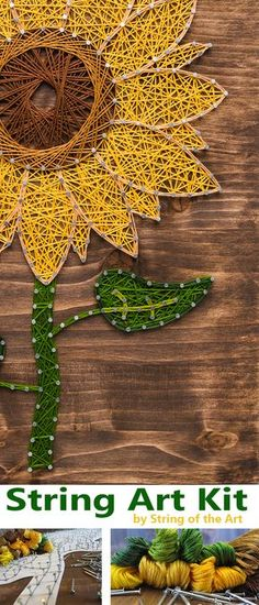 DIY String Art Crafts Kit - Sunflower Crafts Kit comes with the highest quality embroidery floss, HAND sanded and HAND stained wood board, metallic wire nails, pattern template, and easy instructions. Visit www.StringoftheArt.com to learn more about this Sunflower DIY String Art Kit! Sunflower String Art, Crafts Kit, DIY Kit, String Art Flower.