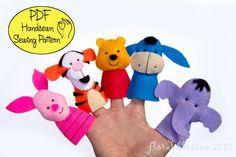 PDF Pattern: Pooh and Friends Felt Finger Puppets..: