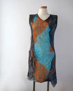 Nuno felted dress by GalaFilc, via Flickr #felt #dress #nunofelted #wetfelting #clothing #felting