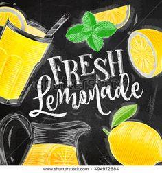 Poster with lemonade elements glass, lemon, jug, mint lettering fresh lemonade drawing with chalk on chalkboard background