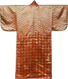 Surihaku (Nô Costume), Late Edo period (1789–1868), late 18th/early 19th century    Silk, warp-float faced 7:1 satin weave; patterned with impressed gold leaf; lined with silk, plain weave; dyed with beni, safflower.  The Art Institute of Chicago