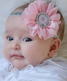 Another great find on #zulily! Light Pink & Silver Initial Headband by SarahBow Accessories #zulilyfinds