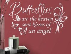 Girl Wall Decal Butterflies Kisses quote Bedroom Nursery playroom decor butterfly theme room decoration Vinyl Lettering Available in 3 sizes Butterfly Quotes, Butterfly Kisses, Butterfly Meaning, Butterfly Place, Plotter Cutter, Kissing Quotes, Angel Quotes, Nursery Decals, Wall Art Decal