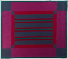 Quilt, Split Bars pattern  Amish maker     Date:      ca. 1930  Geography:      Mid-Atlantic, Pennsylvania, United States  Culture:      American  Medium:      Wool and cotton  Dimensions:      Approx. 88 1/2 x 77 in. (224.8 x 195.6 cm)  Classification:      Textiles  Credit Line:      Purchase, Jan P. Adelson and Joyce B. Cowin Gifts, 2004  Accession Number:      2004.26    This artwork is not on display