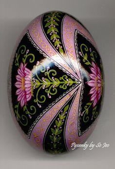 Raspberry Dream Pysanky Ukrainian Easter Egg by So Jeo