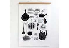 I don't know about you but I love the idea of hanging or framing tea towels. It's a quick, easy and budget friendly way to add some instant art to your walls. Stig Lindberg, Printed Linen, Scandinavian Design, Tea Towels, Food Print, Screen Printing, Colours, Art Prints, Retro