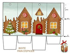 The art of creating: beautiful free Christmas box Christmas Bags, Christmas Minis, Christmas Gingerbread, Christmas Paper, Christmas Holidays, Christmas Crafts, Christmas Decorations, Xmas, Paper Toys