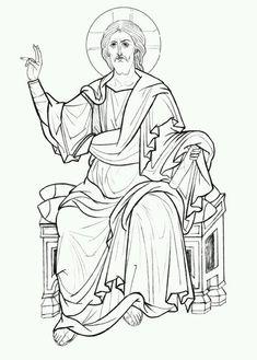 Christ on the Judgement Seat. Byzantine Icons, Byzantine Art, Religious Icons, Religious Art, Jesus Drawings, Religious Paintings, Cartoon Sketches, Catholic Art, Art Icon