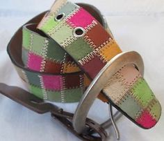 FOSSIL Med patchwork LEATHER Belt As Seen On Offspring's Nina Proudman.