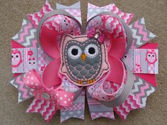 Pink and Gray Owl Hair bow hair Clip large hair by MyLuckyHairBow