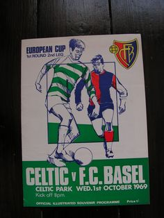 Vintage 1969 Celtic versus F C Basel Football Soccer Programme European Cup by VintageBlackCatz on Etsy