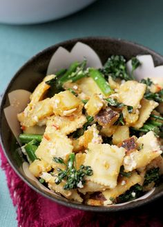 Ravioli Salad with Broccolini, Sweet Potatoes, Feta, and Harissa - Joanne Eats Well With Others