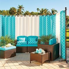 Outdoor Curtain Rod with Post Set - Improvements Catalog