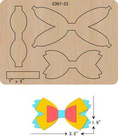 New BOW Wooden die Scrapbooking Cutting Dies The thickness is and is compatible with most leading machines.Size:Bow: Length width height Baby little Shoes:Large: Length width height knife part: Middle: Knife part: Making Hair Bows, Diy Hair Bows, Diy Bow, Bow Wood, Barrettes, Hairbows, Bow Template, Templates, Sugar Waxing