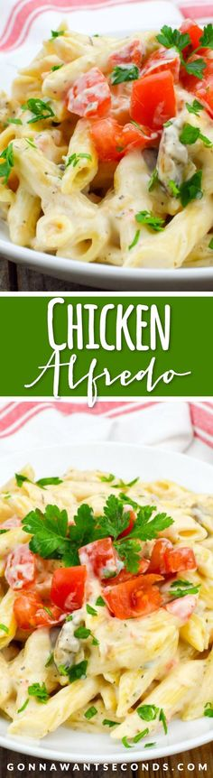This super easy Chicken Alfredo is ultra creamy, rich, decadent and just may be the best pasta recipe ever!