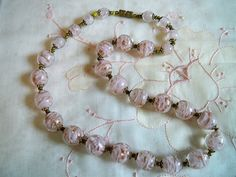 Vintage Venetian Murano Sommerso Pink Glass Bead Necklace Gold Foil Aventurine by BlackRain4, $74.99