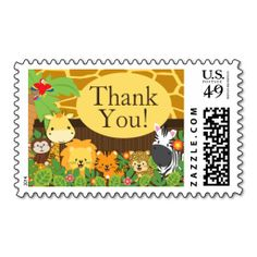 Safari Jungle Animal Neutral Baby Shower Postage. This is customizable to put a personal touch on your mail. Add your photos or text to design your own stamp that can be sent through standard U.S. Mail. Just click the image to try it out!