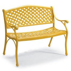 Yellow Wrought Iron Bench http://www.aestheticoiseau.com/search?updated-max=2011-04-19T08%3A25%3A00-04%3A00=15