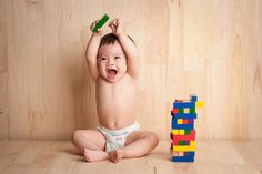 While baby's playing with infant toys such as blocks, balls, and stacking cups, he's getting a sneak peek at math and science and improving his intellectual development.