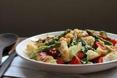 Roasted Asparagus and Avocado Panzanella (no tomato)