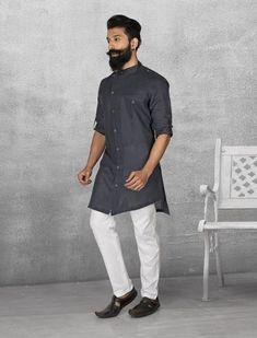 Shop Black color simple linen kurta suit online from India. Mens Indian Wear, Indian Groom Wear, Indian Men Fashion, Mens Fashion, Fashion Vest, Trousers Fashion, Kurta Pajama Men, Kurta Men, Pathani For Men