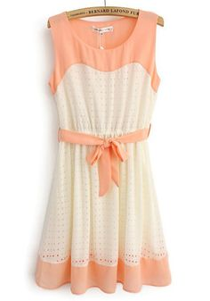 Pink Patchwork Hollow-out Belt Sleeveless Cotton Blend Dress