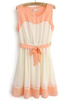 Pink Patchwork Hollow-out Belt Sleeveless Cotton Blend Dress