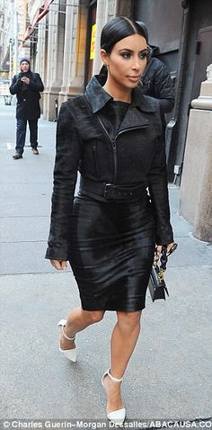 Kim Kardashian debuts her new look for 2015 after staying up all night to redo her wardrobe with Kanye West... but can you spot the difference? | Daily Mail Online