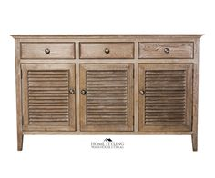 How to Hamptons: Tip #5 Wood is good. Wood furniture like this buffet sideboard adds warmth to a Hamptons space.