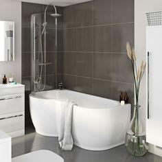 Maine P Shaped Freestanding Shower Bath & 6mm Screen LH