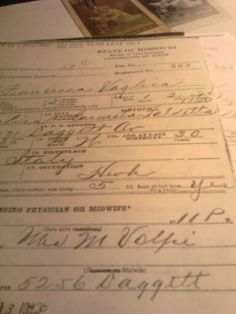 THIS IS THE ORIGINAL BIRTH CERTIFICATE OF MY MOTHER. MRS. VOLPIE OF ,VOLPIE'S MARKET ON 'THE HILL' IN ST.LOUIS, MO. WAS THE MIDWIFE WHO DELIVERED MY MOM. FRANCESCA VAGLICA, BORN AT HOME ON DAGGETT STREET.