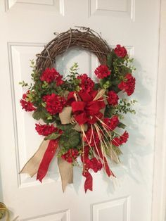 Red Geranium Fall Summer Everyday by SweetMagnoliaFlowers on Etsy, $65.00
