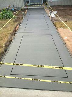 I want this elegant modern driveway Concrete Path, Concrete Patio Designs, Cement Patio, Concrete Driveways, Backyard Patio Designs, Walkways, Stamped Concrete Driveway, Patio Ideas, Front Walkway Landscaping