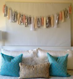 Cute DIY garland with ribbon. Obviously use neon colors.