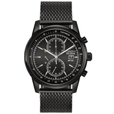 Citizen Eco-Drive Men's Black Mesh Chronograph Watch. This Eco-Drive watch is powered by light, and features a 42mm black stainless steel case and mesh style bracelet. Has a black dial and includes 3-