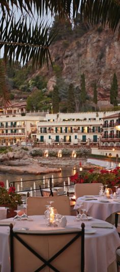 The terrace of Belmond Villa Sant'Andrea at Taormina in Sicily is the ultimate spot to savour seafood fresh from the bay. Best Places To Travel, Places To Go, Sicily Hotels, Italy Restaurant, Sicily Wedding, Taormina Sicily, Portofino Italy, Moving To Italy, Romantic Resorts