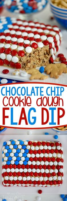 Celebrate with this outrageous Chocolate Chip Cookie Dough Flag Dip this 4th of July weekend! Edible chocolate chip cookie dough is loaded with toffee bits and peanut butter chips for the most delicious dip ever! Decorated in red, white, and blue, this easy dessert recipe is perfect for Memorial Day and Labor Day weekend as well!