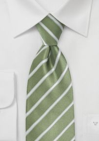 Fern Green and White Striped Tie