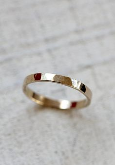 Gold hammered ring thin 14k gold band ring