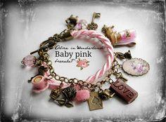 Luxus handgemachte Alice im Wunderland Schmuck Armband Vintage Baby Rosa Schnur Uhren Geschenk