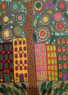 Kerri Ambrosino Art PRINT Mexican Folk Art Park Slope Brooklyn New York City Tree of Life Flowers Apartments Condos Folk Art Flowers, Flower Art, Art Floral, Pablo Picasso, Love Birds Painting, Arte Popular, Indigenous Art, Naive Art, Illustrations