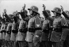 1933 - Reichswehr soldiers during the oath to the new President's Adolf Hitler.