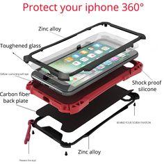 For apple iphone 7 phone Cover Case Luxury Shockproof Full Waterproof for iphone 7plus 7 plus Metal Aluminum Gorilla Glass