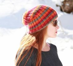 Sherbert Beanie Slouch Hat | This colorful knit hat is made using a lightweight yarn ideal for spring.