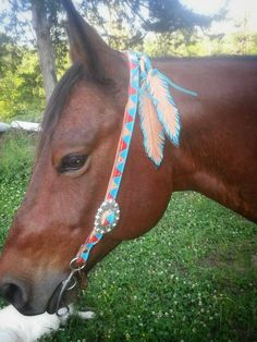 JazzyTack Flying Feathers Headstall in your choice of colors. $125