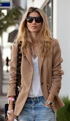 camel coat + white tee + blue jean